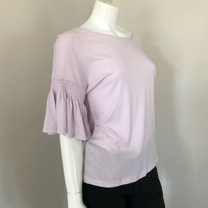 14th & Union Lavender Tee With Ruffled Sleeves